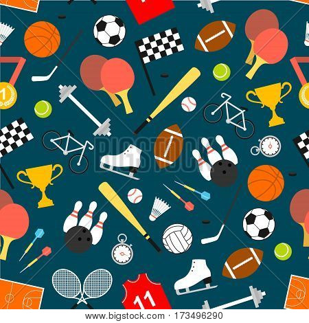Sport seamless pattern with ball for football, tennis and basketball, baseball, rugby, bowling game, hockey puck and racket, medal, racing flag and trophy, stopwatch, dumbbell, bicycle, skates