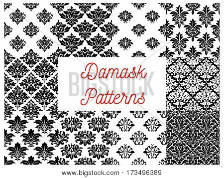 Damask floral ornate patterns set. Vector seamless pattern of luxurious floral decorative elements. Design of baroque, classic, royal, luxury damask interior decoration background