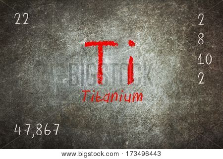 Isolated Blackboard With Periodic Table, Titanium