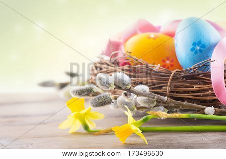 Easter eggs and spring flowers in nest on wooden table over white background. Beautiful colorful eggs decorated and painted, bright colors. Spring Holidays border art design
