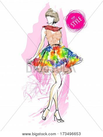 Fashion Woman Model With Colorful Skirt In The Style Of A Waterc
