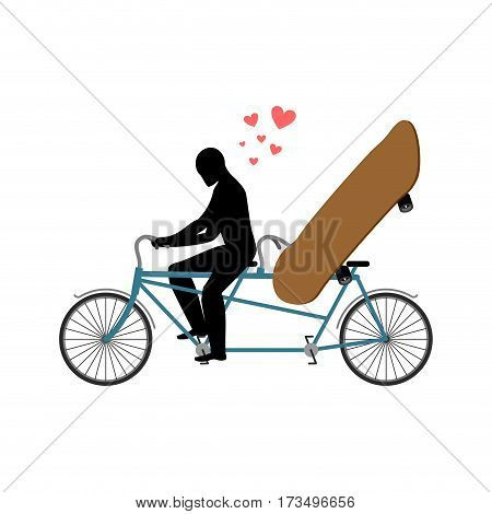 Lover Skateboarding. Skateboard And Guy On Bicycle. Lovers Of Cycling. Guy Rolls Boarder In Tandem B