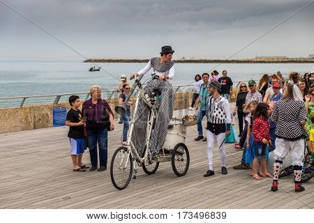 Happy People Celebrate The Purim Holiday At Tel-aviv Port Promenade
