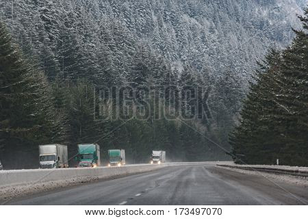 Trucks driving on wide road next to vast snow-covering spruce forest in United States