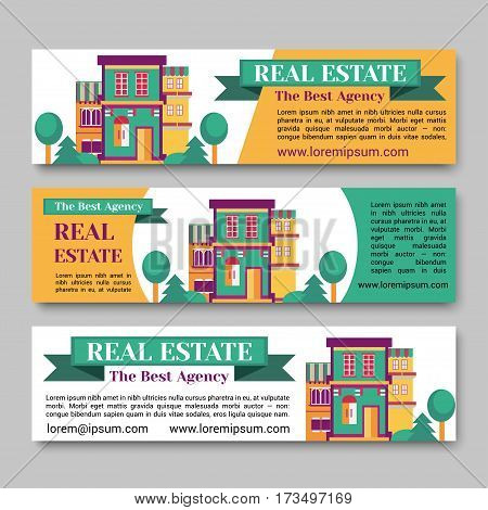 Real estate flat horizontal banner set with house logo, ribbon, trees. Village apartment rental and buying vector illustration.