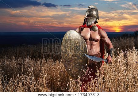 Spartan soldier in a battledress with hot sexy muscular strong athletic body standing alone in the field copyspace weapon armor concept