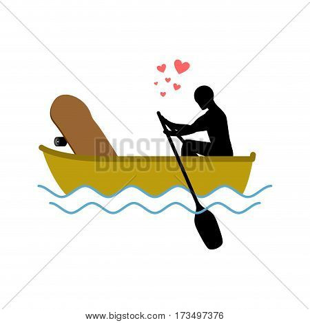 Lover Skateboarding. Skateboard And Guy Ride In Boat. Lovers Of Sailing. Romantic Date. Love Extreme