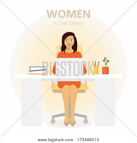 Young woman sitting at a table. Beautiful girl working in the office. Employees