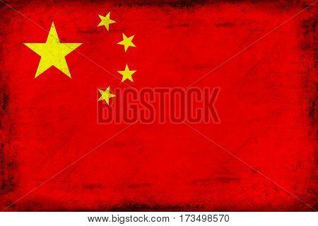 Vintage national flag of China background textured