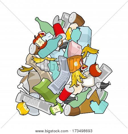 Garbage Heap  Isolated. Pile Rubbish. Stack Trash. Litter Background. Peel From Banana And Stub. Tin