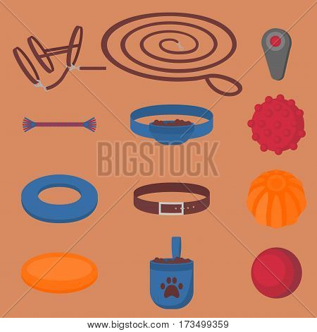 Dog walking elements. Flat isolated set, pet walk items. Doggy training icons collar, leash and headstall. Play objects ball, liker, puller and frisbee, treat and cord.