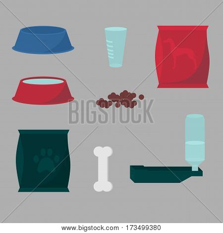 Animal feeding icons. Pack of dog food, isoleted pet bowl, meal plate. Puppy feed treat, doggy diet, healthy nutrition