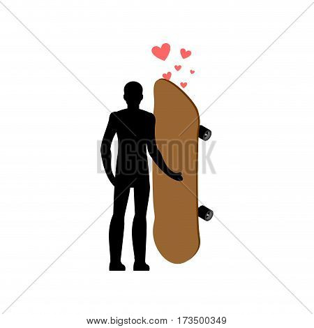 Lover Skateboarding. Skateboard And Skateboarder. Love Extreme Sport. Lovers Embrace. Romantic Date