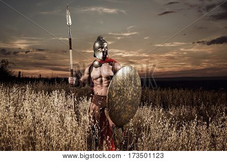 Calm but dangerous. Sepia toned shot of a legionary national roman warrior in ancient battledress standing in the field looking away armed with spear protection security guardian hero historical