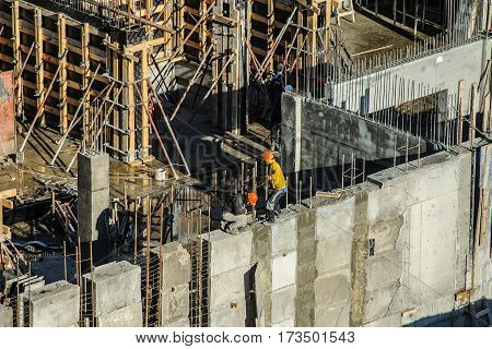 Builders Are Working On A Construction Site