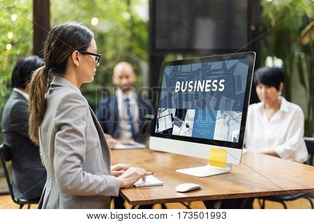 Businesswoman Looking Concentrating Caucasian