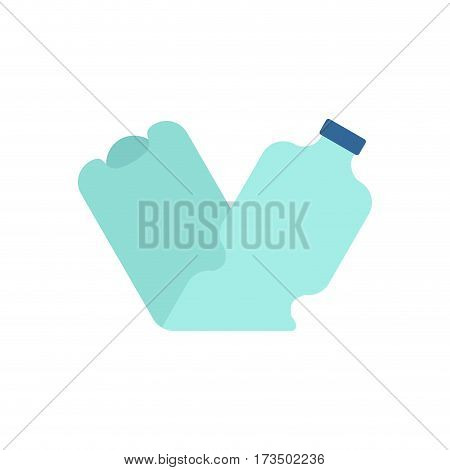 Plastic Bottle Crushed Garbage Isolated. Rubbish On White Background
