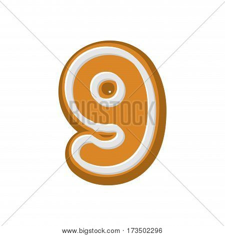 Number 9 Gingerbread Font. Peppermint Honey Cake Abc Nine. Cookies Alphabet. Lettering Biscuit