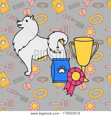 Winner Puppy wining a dog show, pet on the first place. Gold trophy Cup on prize podium. Award ceremony animal, doggy champion medal