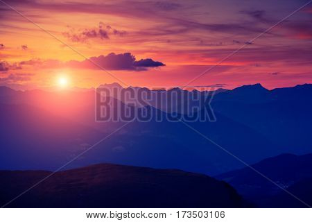Scenic surroundings of the national park Gardena. Dramatic and gorgeous morning scene. Location place Seceda peak, Geisler or Odle Dolomiti group. Tyrol, Italy, Europe. Discover the world of beauty.