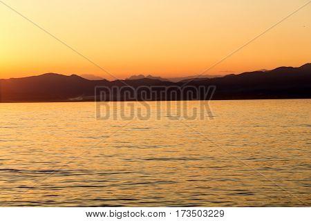 Beautiful sunset at Garda lake in Italy