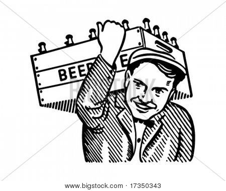 Man With Keg Of Beer - Retro Ad Art Illustration