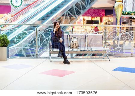 Teenage girl waiting for departure in international airport