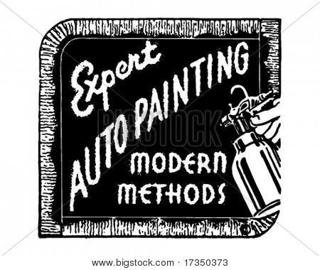 Expert Auto Painting - Retro Ad Art Banner
