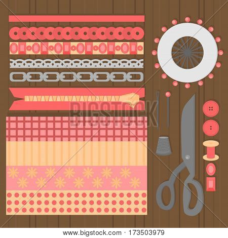 Sewing workshop equipment. Flat tailor shop design elements. Tailoring industry dressmaking tools icons. Fashion designer sew items top view.