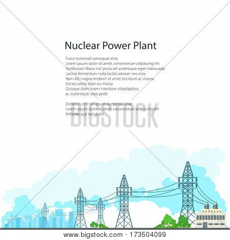 High Voltage Power Lines Supplies Electricity to the City , Electric Power Transmission on White Background and Text,  Poster Brochure Flyer Design, Vector Illustration
