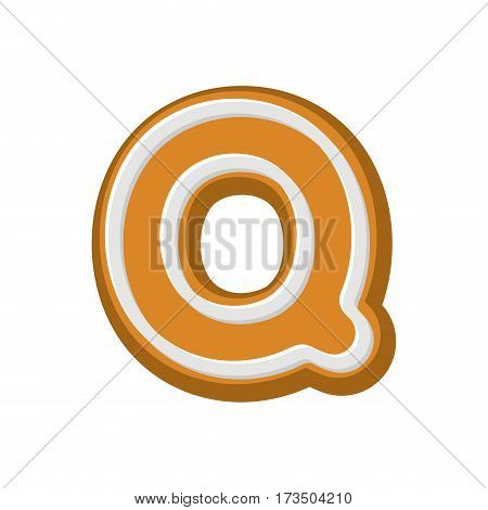 Letter Q Gingerbread. Peppermint Honey-cake Font. Cookies Alphabet. Lettering Biscuit