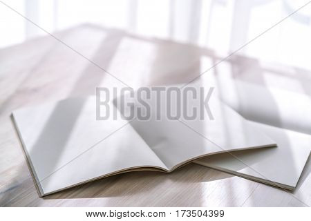 Blank catalog, magazines,book mock up on wood background.