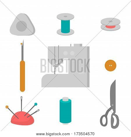 Sewing workshop equipment. Flat tailor shop design elements. Tailoring industry dressmaking tools icons. Fashion designer sew items.