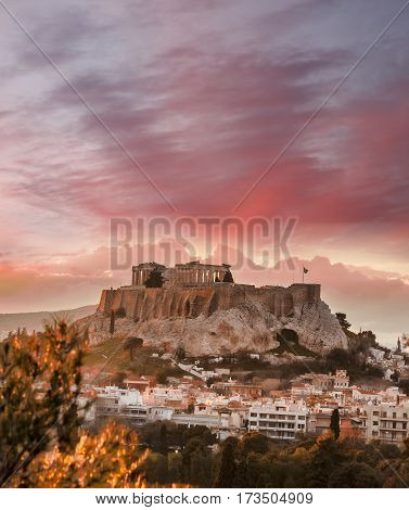 Acropolis With Parthenon Temple Against Sunset In Athens, Greece