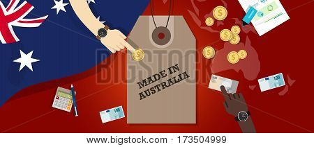 Made in Australia price tag illustration badge export patriotic business transaction vector