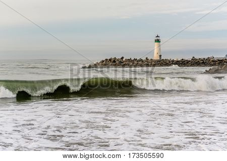 Santa Cruz Breakwater Light (Walton Lighthouse), Pacific coast, California, USA