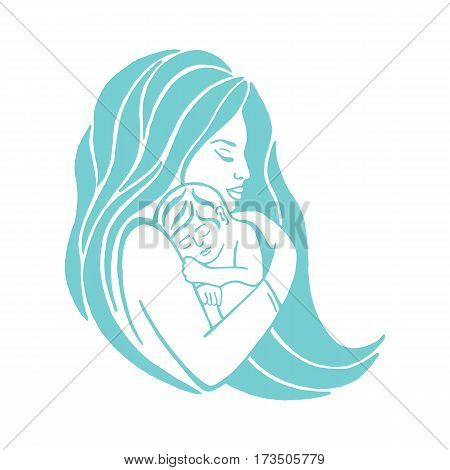 Mother breastfeeding her baby symbol.Breastfeeding coalition emblem breastfeeding mother support icon lactation consultant logo. poster
