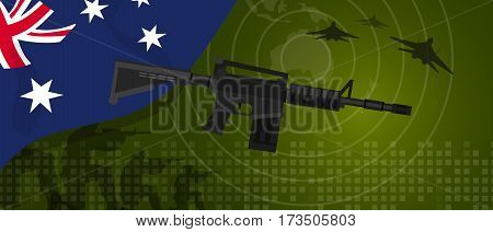Australia military power army defense industry war and fight country national celebration with gun soldier jet fighter and radar vector