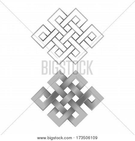 Silver endless knot on white background. Buddhism symbols.