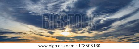 dark dramatic clouds at sunset. sky background panorama