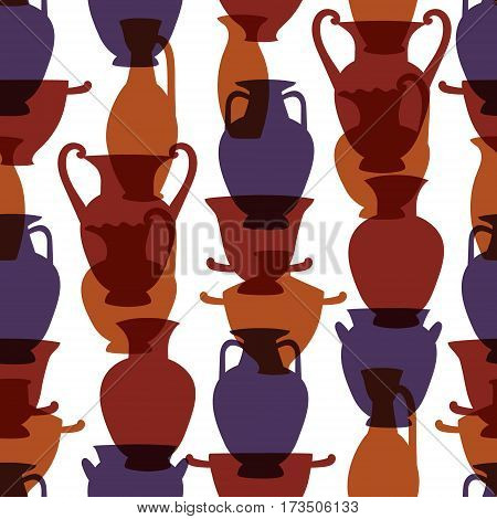 Colorful greek traditional vases seamless pattern, vector background