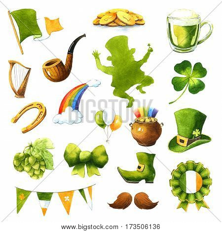 St.Patrick 's Day icons. Watercolor clip-art on white