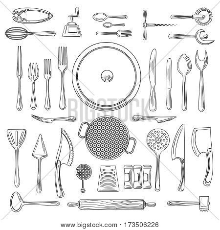 Kitchen utensils or kitchenware sketch vector illustration. Hand drawn cooking tools