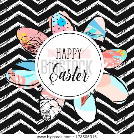 Hand drawn vector abstract creative Happy Easter greeting card design template with painted Easter eggs collection and Happy Easter phase isolated on black and white zig zag line chevron background.