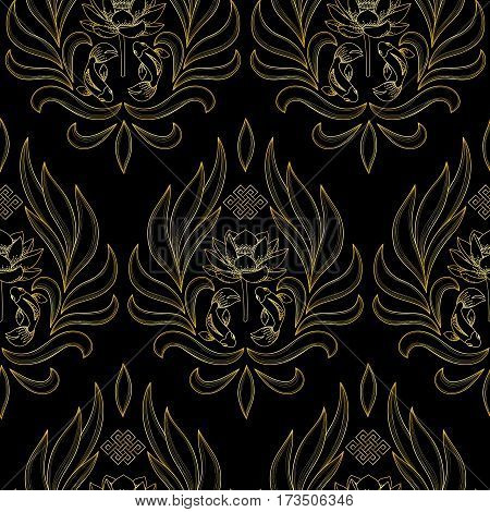 Buddhism gold symbols seamless pattern with endless knot, lotus, fishes on black background.