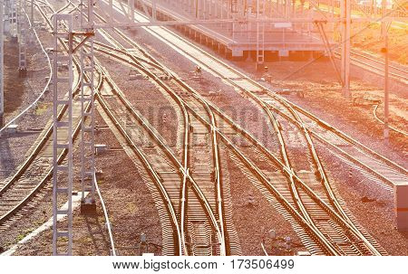 Railway branches near the station in Moscow