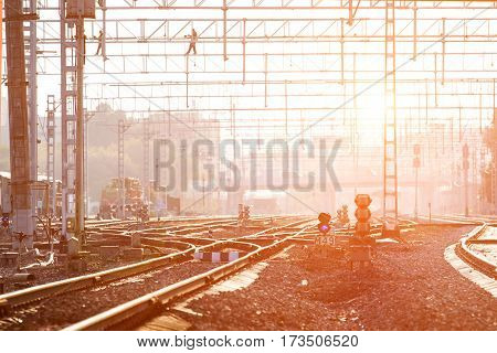 Lower view of railway turnout with evening sun
