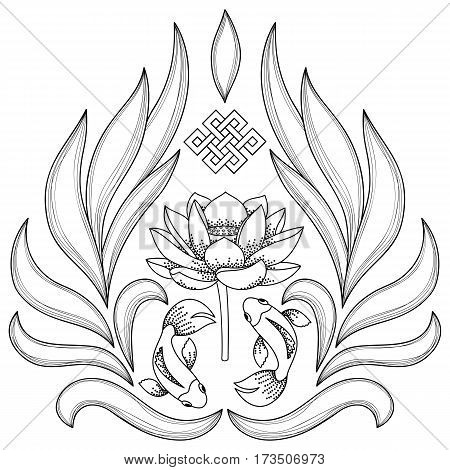 Buddhism Symbols endless knot, lotus, fishes on white background. Coloring page.