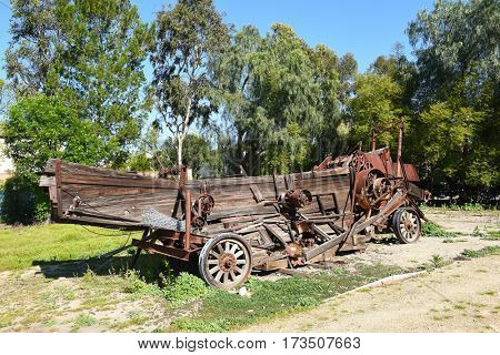 IRVINE, CALIFORNIA - FEBRUARY 24, 2017: Derelict Farm Equipment. The machine is on the grounds of the Irvine Ranch Historic Park in Orange County, California.