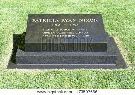 YORBA LINDA, CALIFORNIA - FEBRUARY 24, 2017: Patricia Ryan Nixon wife of President Richard Nixon grave marker. The 37th president and his wife are buried at the Nixon Library and Birthplace.